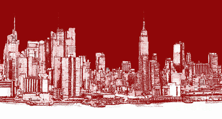 Drawn skyline pop art Rectangular New Drawing York Art
