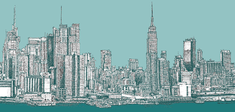 Drawn bulding  new york skyline In In green Art York