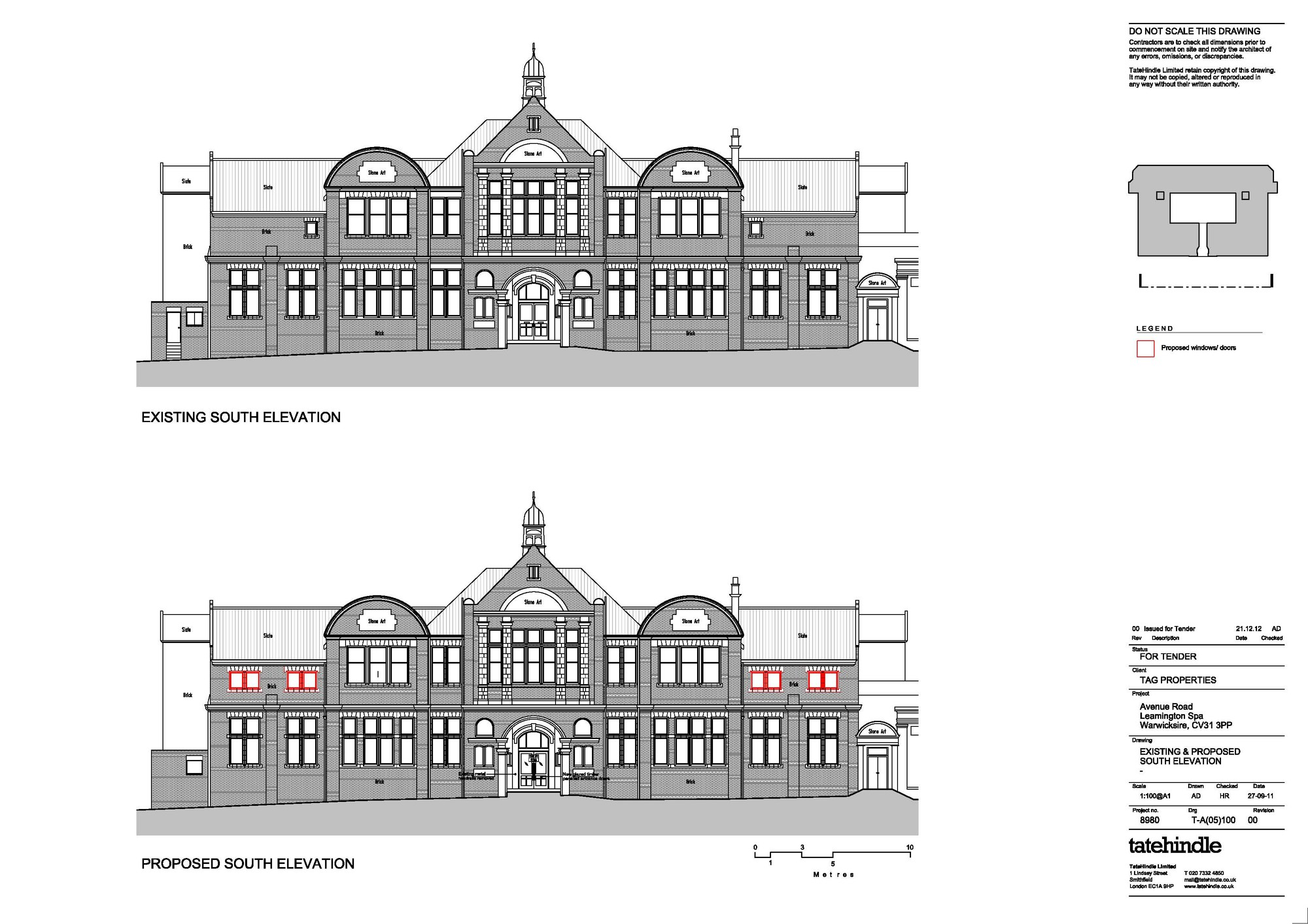 Drawn bulding  old library Elevation of Old 9 TateHindle