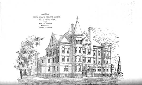 Drawn bulding  old library Fulkerson's of W Administration Old