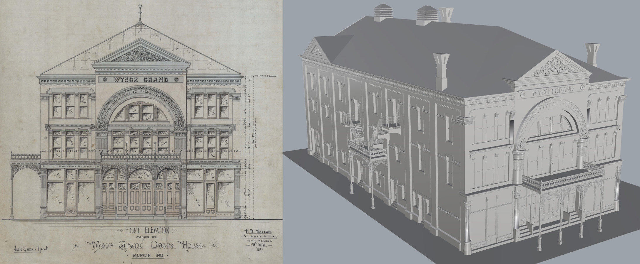 Drawn bulding  old library House rendering Grand ARCHSEC Society