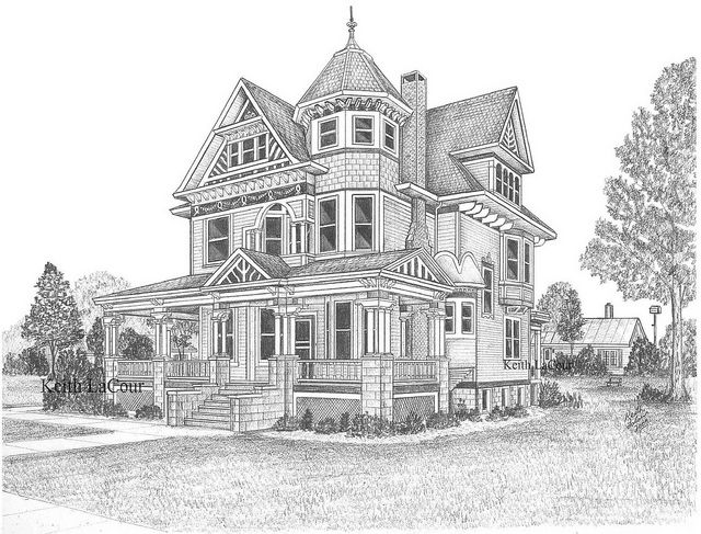 Drawn bulding  old victorian house 41 Pinterest images House drawings