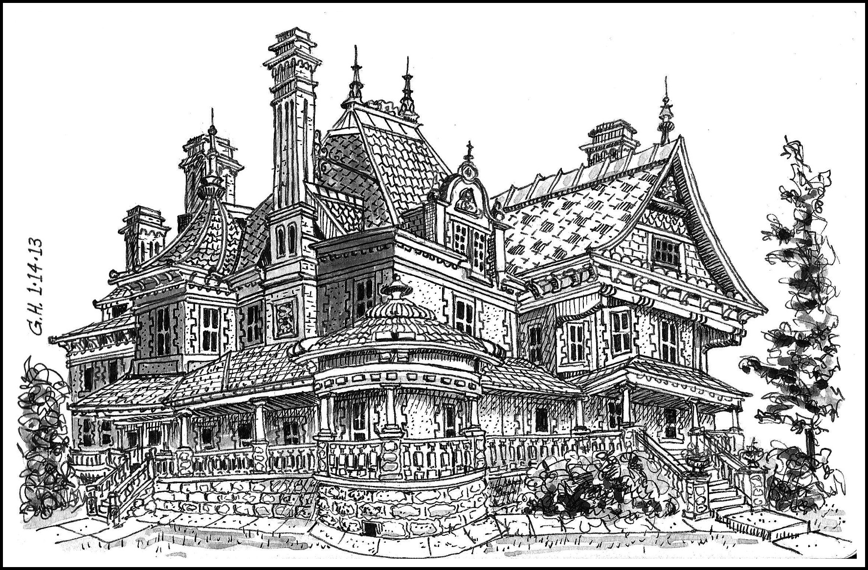 Drawn building old victorian house Drawings Victorian Displaying Houses