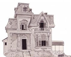 Drawn bulding  old victorian house Old house drawing victorian House