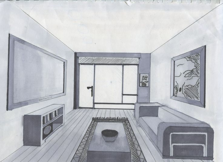 Drawn room one point perspective Find DRAWING on Pinterest this