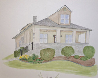 Drawn painting house Painting Our Painting Home Watercolor