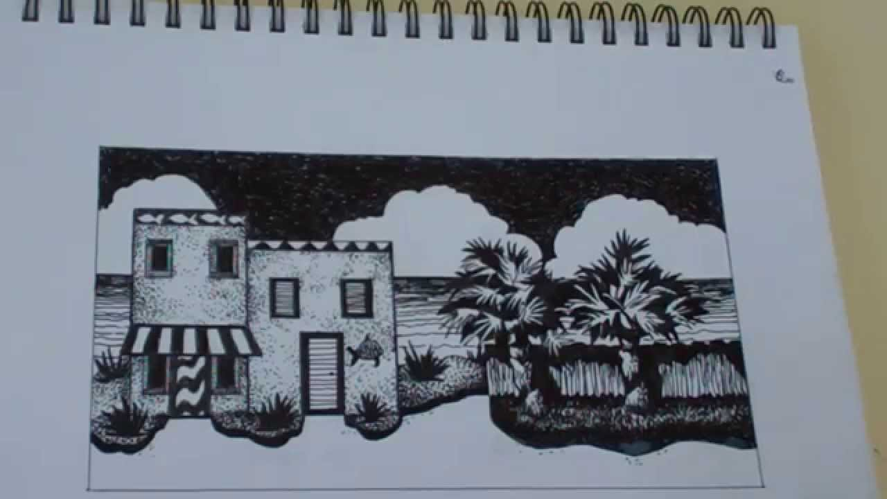 Drawn building pen and ink Drawing and Ink Pen and