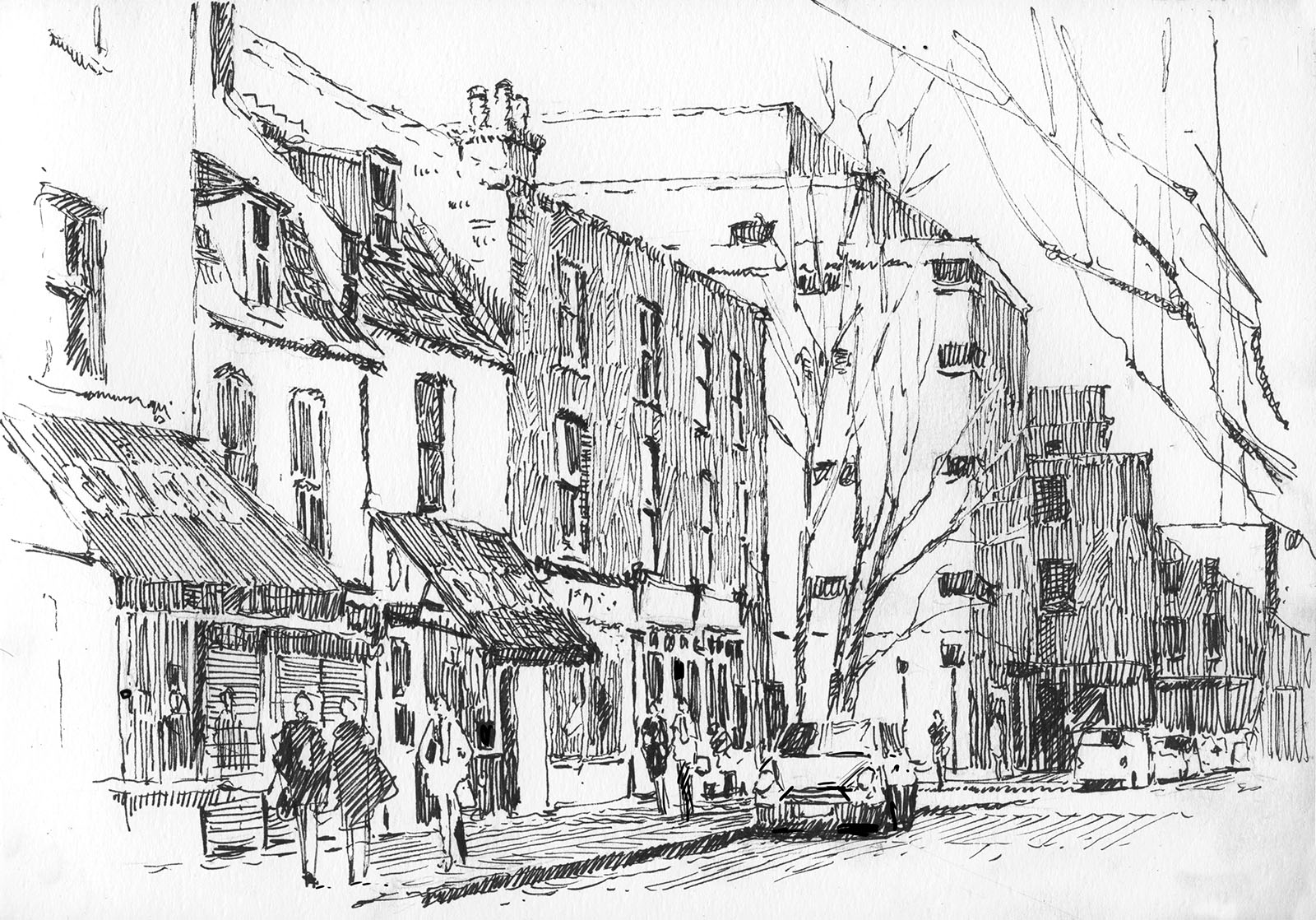 Drawn building pen and ink Pen  Royal Hill Greenwich