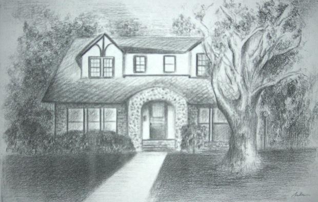 Drawn bulding  pencil art Choice Each drawing of house