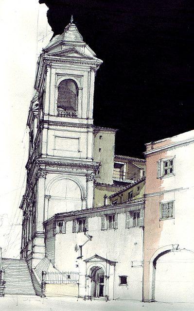 Drawn bulding  pencil art On Piazza di buildings 289