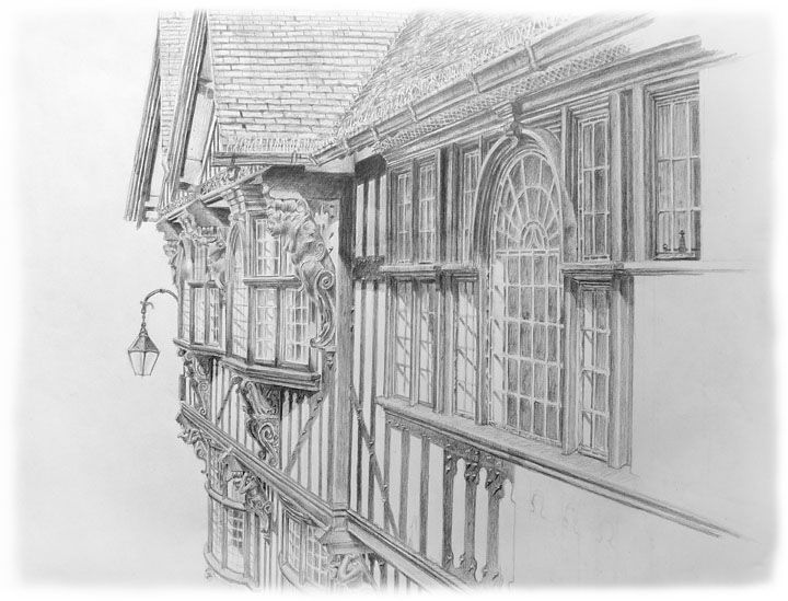 Drawn bulding  pencil art On Foregate of 2012 Feng