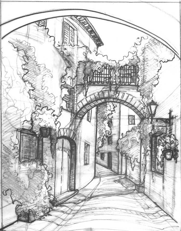 Drawn bulding  pencil art Mediterranean street Pinterest sketch Best