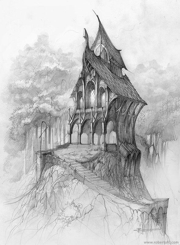 Drawn bulding  pencil art On · The heavier sketch