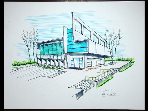 Drawn bulding  perspective Drawing freehand point building two