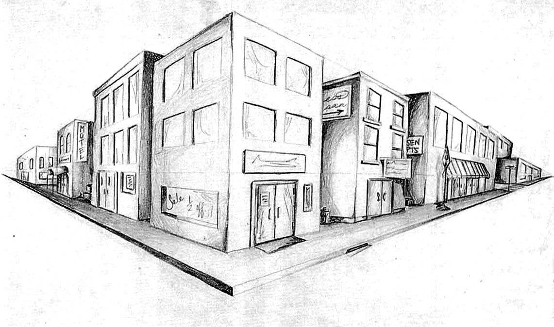 Drawn bulding  perspective Drawing Perspective Perspective 2 Best