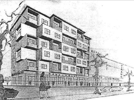 Drawn bulding  perspective 4 building the drawing Residential