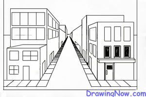 Drawn bulding  perspective Perspective One to : Street