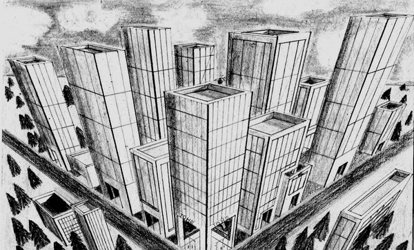 Drawn scenery city Perspective drawings two cities Google