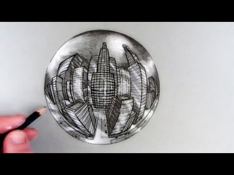 Drawn glasses chrome sphere In Crystal to Perspective in
