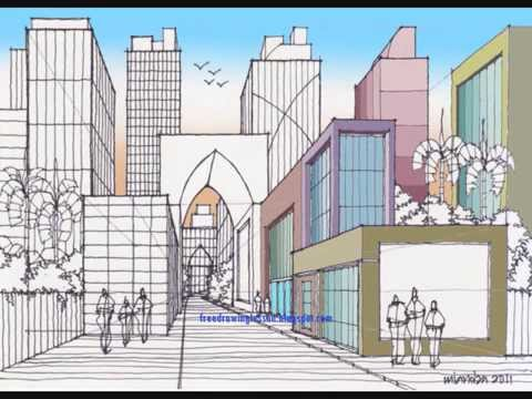 Drawn scenery busy city Scenery to draw How How
