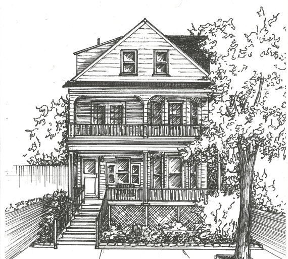 Drawn bulding  sketch Drawn Rendering home home custom