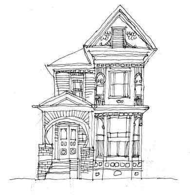 Drawn building old victorian house … line More old drawing