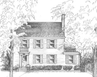 Drawn bulding  sketch In ink Drawn House drawn