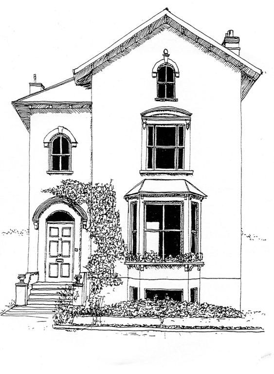 Drawn bulding  sketch House Illustrations DrawingBuilding Best 25+