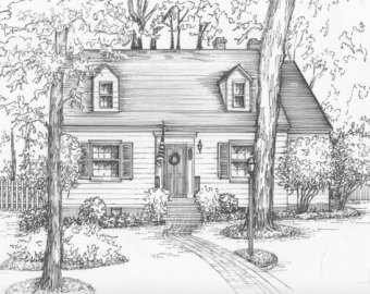 Drawn hosue family drawing Architectural Sketch or house ink
