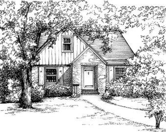 Drawn bulding  sketch Sketch Portrait in home 11