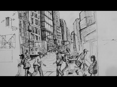 Drawn bulding  street scene & to Pen city draw