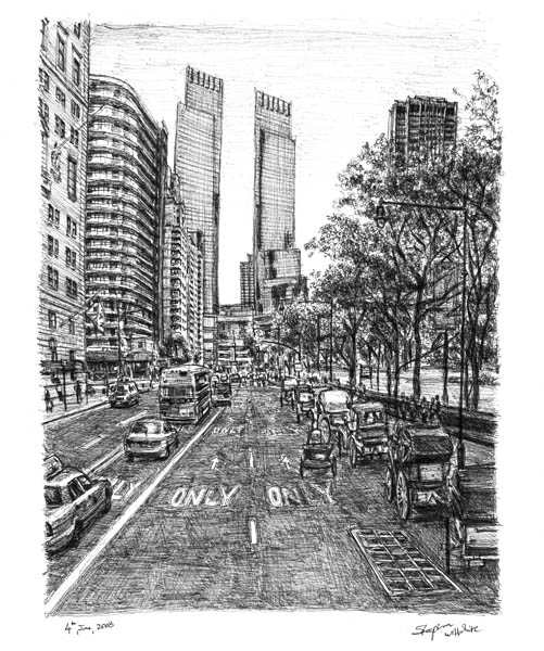Drawn bulding  street scene At drawn scene at carts
