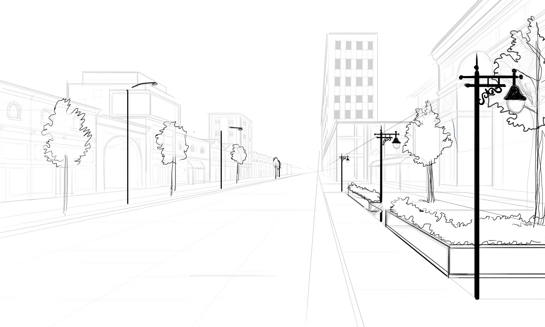 Drawn bulding  street scene Scene Architectural How Scenes trees
