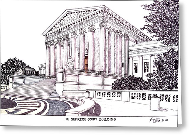 Drawn building supreme court building Supreme Building Card Greeting Court