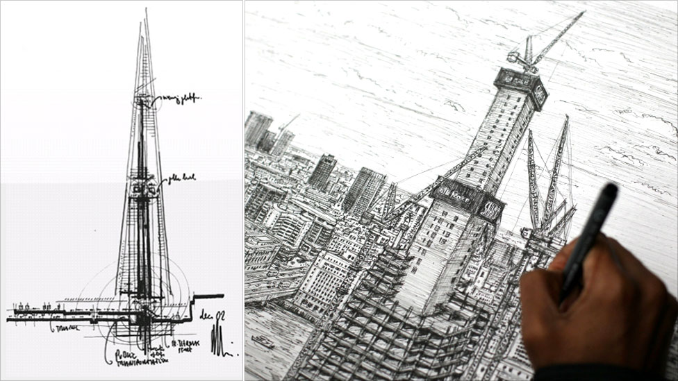 Drawn bulding  tall building Drawing silly Shard artist have