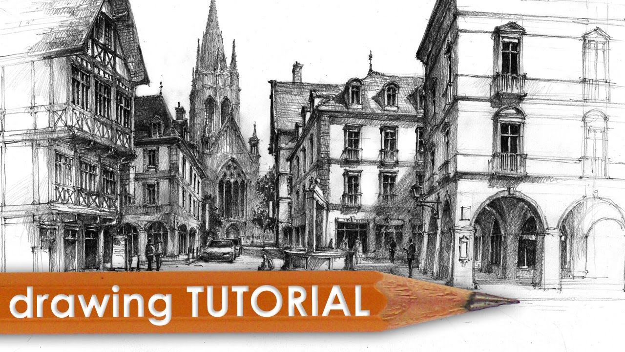 Drawn bulding  technical drawing Tutorial Drawing  & architecture