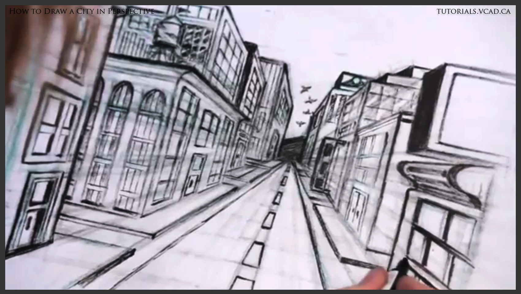 Drawn bulding  vanishing point Point to a city to