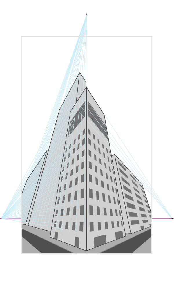 Drawn bulding  vanishing point Lines for drawing is part