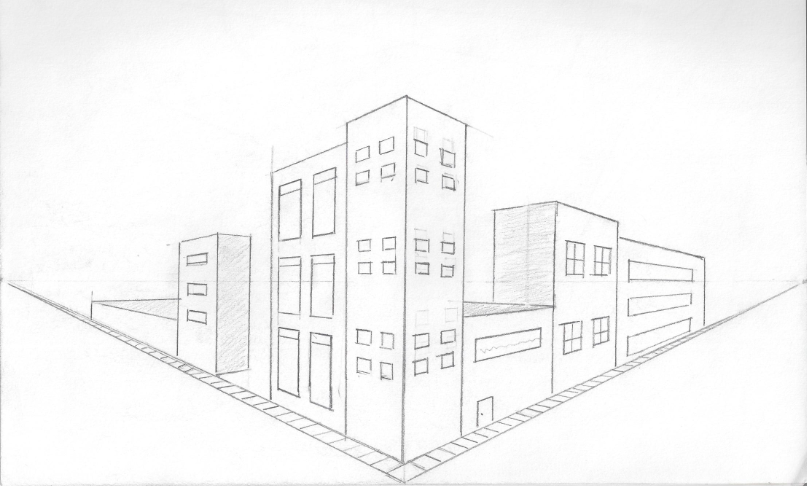 Drawn bulding  vanishing point 5 displaying my depicts drawing