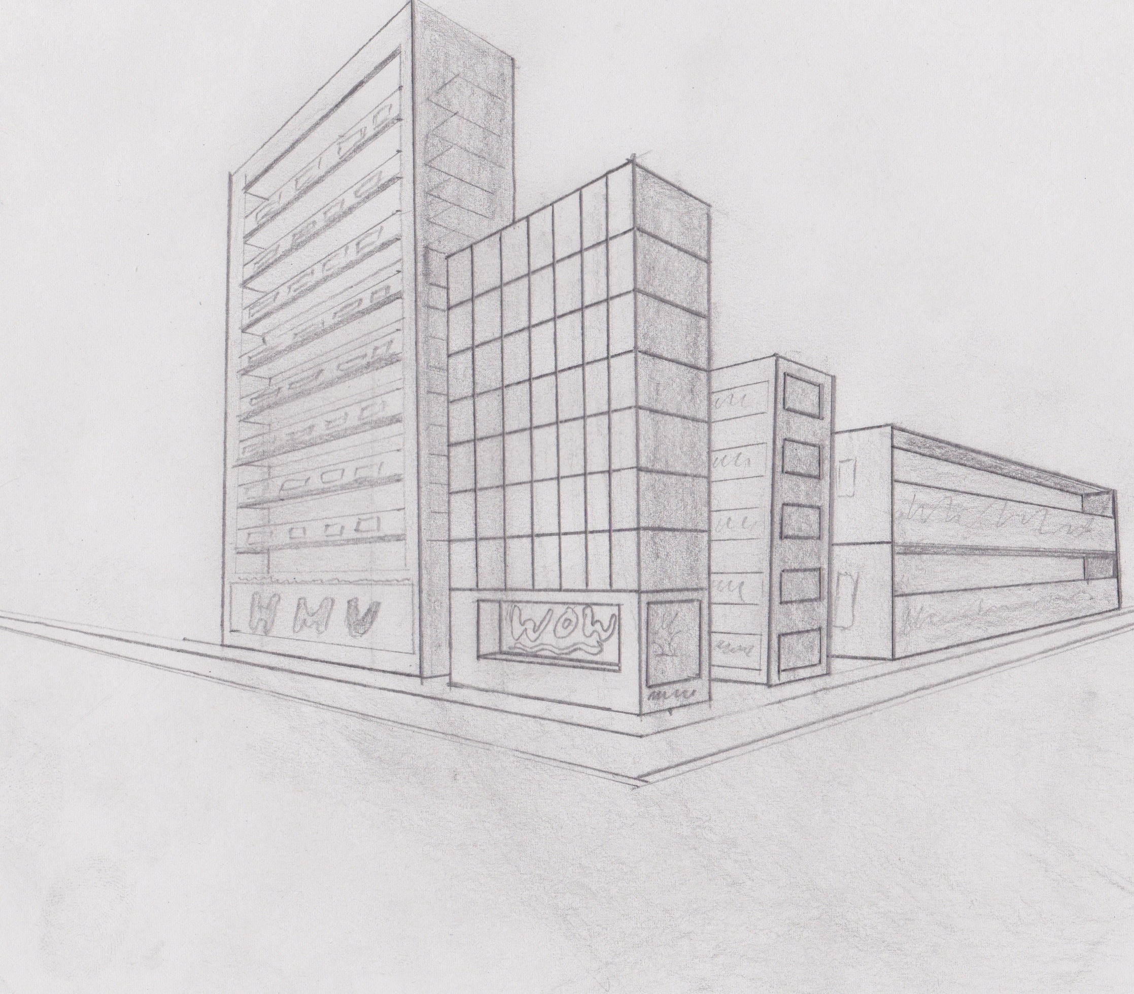 Drawn bulding  vanishing point Creative Perspective 1 ! Drawing