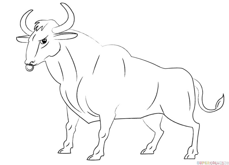 Drawn bull Cartoon step bull by Drawing