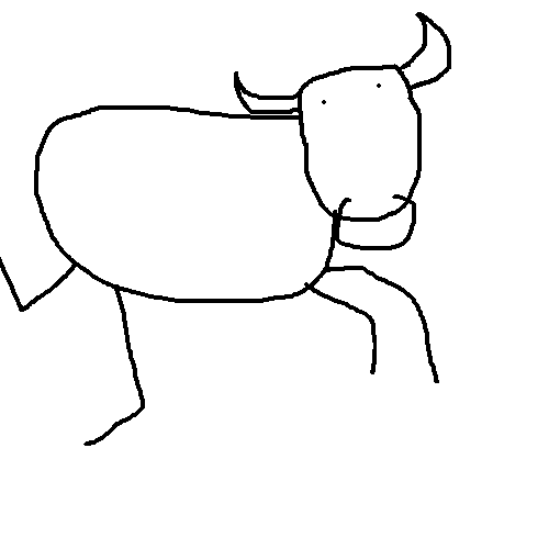 Drawn bull A sidewalkbanana bull drawn poorly