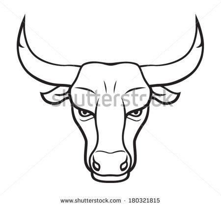 Drawn bull Geometric (450×420) (842×595) drawing face