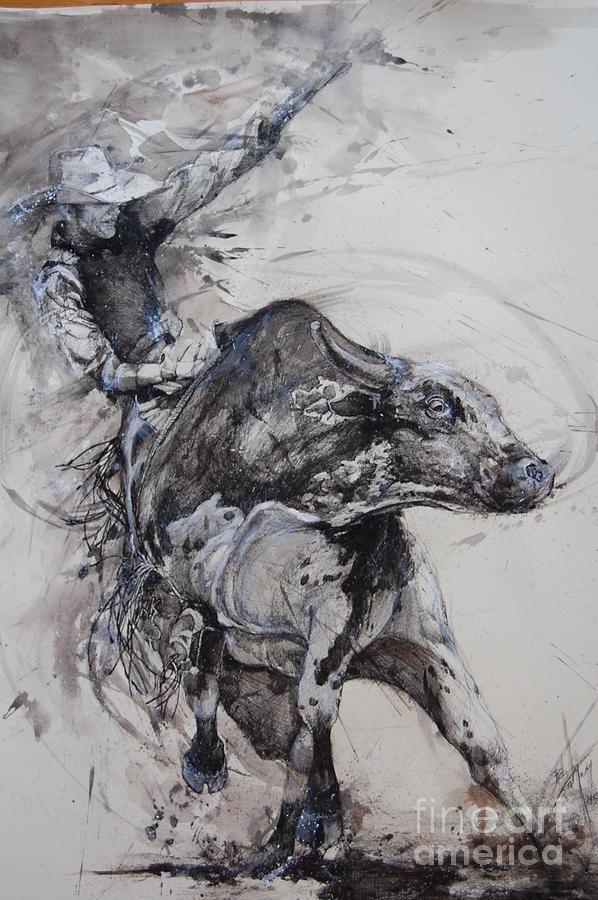 Drawn bull rodeo bull Bob Bull by Graham Rider