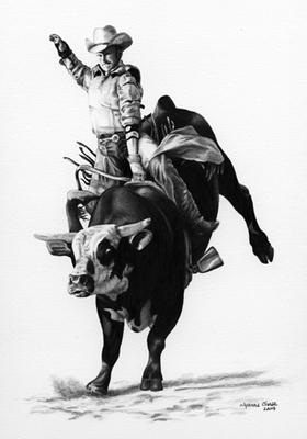 Drawn bull rodeo bull  as as Roping Drawings