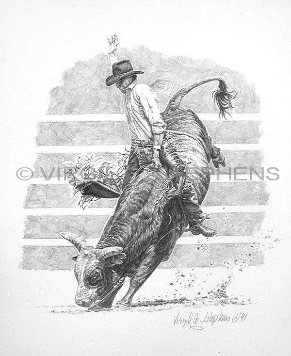 Drawn bull rodeo bull  by pencil by Virgil