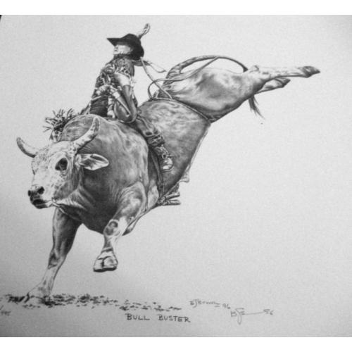Drawn bull rodeo bull Brown Bernie Bull Buster Details