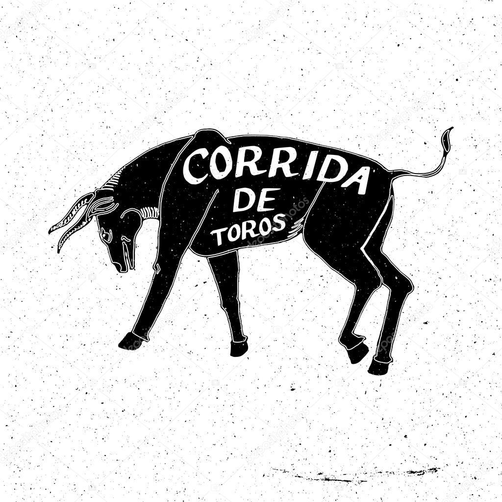 Drawn bull stock Bullfight — drawn de Hand