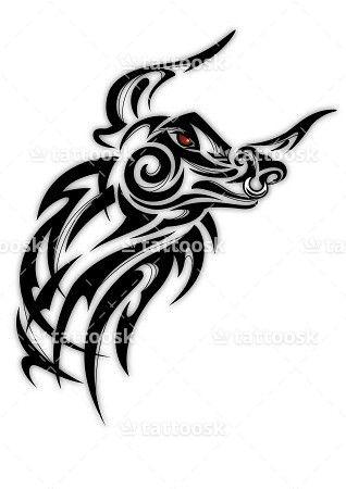 Drawn bull tribal Bull 25+  Bull Taurus