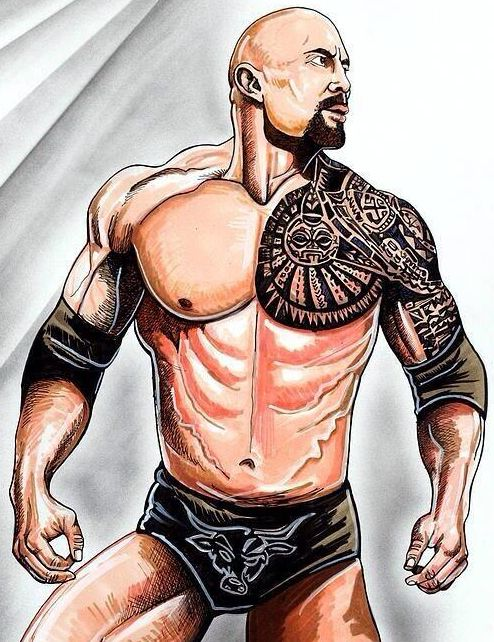 Drawn bull wwe the rock Art Best The more 61